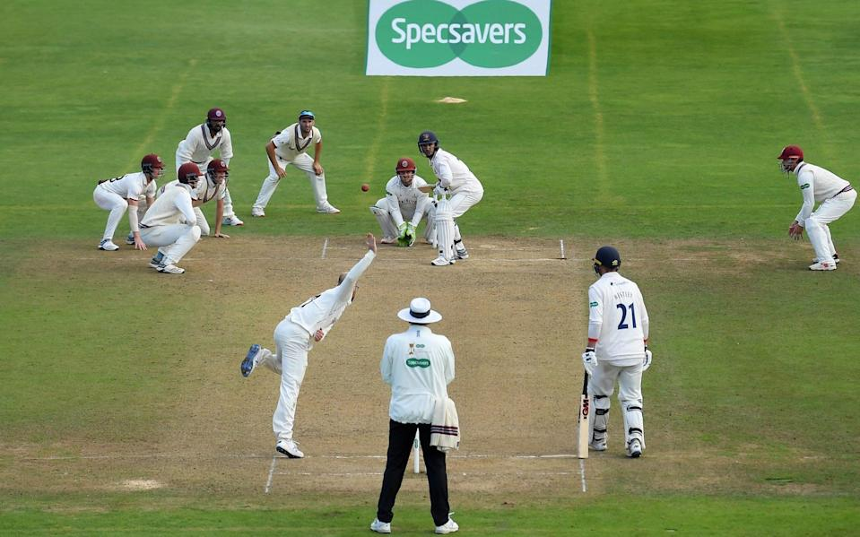 A general view as Jack Leach of Somerset bowls during Day Four of the Specsavers County Championship Division One match between Somerset and Essex at The Cooper Associates County Ground on September 26, 2019 in Taunton, England - Getty Images Europe/Alex Davidson