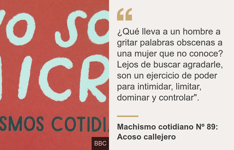 """¿Qué lleva a un hombre a gritar palabras obscenas a una mujer que no conoce? Lejos de buscar agradarle, son un ejercicio de poder para intimidar, limitar, dominar y controlar""."", Source: Machismo cotidiano Nº 89: Acoso callejero, Source description: , Image:"