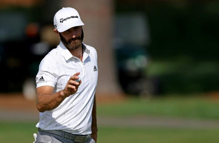 World number one Dustin Johnson reacted to making an eagle at the par-5 second in Saturday's third round of the Masters