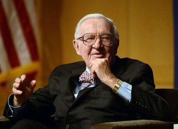 PHOTO: Retired Supreme Court Justice John Paul Stevens answers a question posed by Brooke Gladstone (not shown), Host and Managing Editor of National Public Radio newsmagazine at the National Constitution Center April 28 2014 in Philadelphia. (William Thomas Cain/Getty Images, FILE)