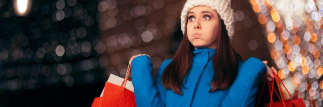 exhausted woman holiday shopping