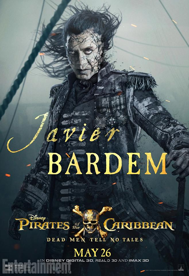 <p>It's another creepy, seafaring villain, this time in the form of Javier Bardem as Captain Salazar. And it looks as though he and Jack have some history. Burned by Jack decades earlier, Salazar has returned to take voer the high seas… and to wipe Jack off the map for good.<br />(Credit: Disney) </p>