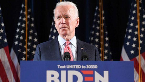 PHOTO: Former Vice President and Democratic presidential hopeful Joe Biden speaks about COVID-19, known as the Coronavirus, during a press event in Wilmington, Del., March 12, 2020. (Saul Loeb/AFP via Getty Images)