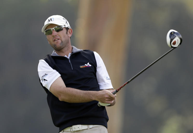 Jason Allred drives on the ninth tee in the third round of the Northern Trust Open golf tournament at Riviera Country Club in the Pacific Palisades area of Los Angeles, Saturday, Feb. 15, 2014. (AP Photo/Reed Saxon)