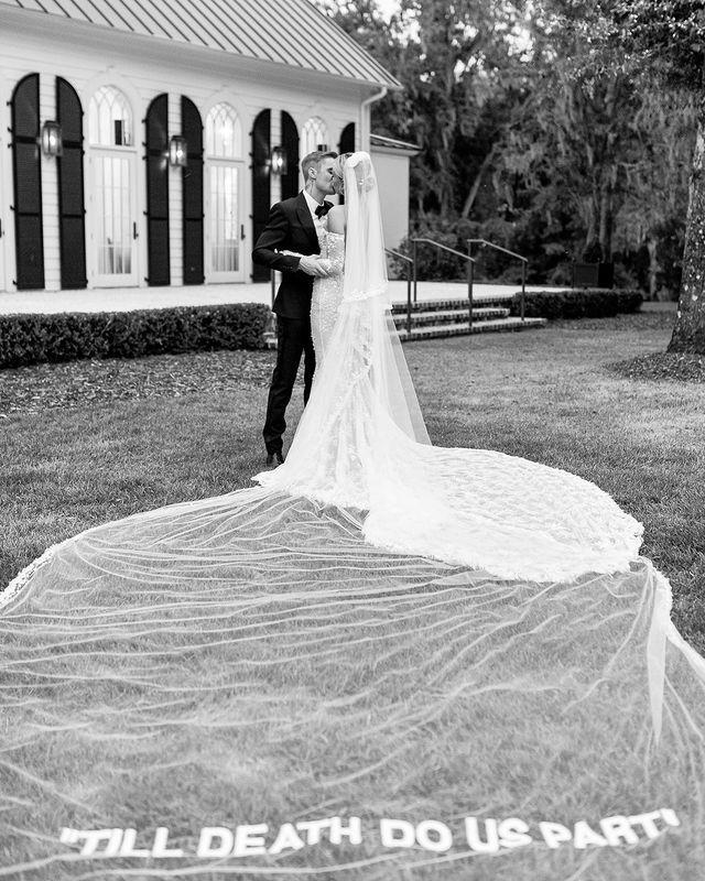 """<p>The couple married in a ceremony attended by A-Lister Kendall Jenner, Kylie Jenner, Usher and more with the bride wearing a custom Off-White wedding dress by Virgil Abloh.</p><p><a href=""""https://www.instagram.com/p/B3VLmXjlfQH/"""" rel=""""nofollow noopener"""" target=""""_blank"""" data-ylk=""""slk:See the original post on Instagram"""" class=""""link rapid-noclick-resp"""">See the original post on Instagram</a></p>"""