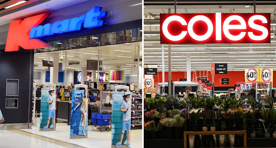 The front entrances of Kmart and Coles stores.