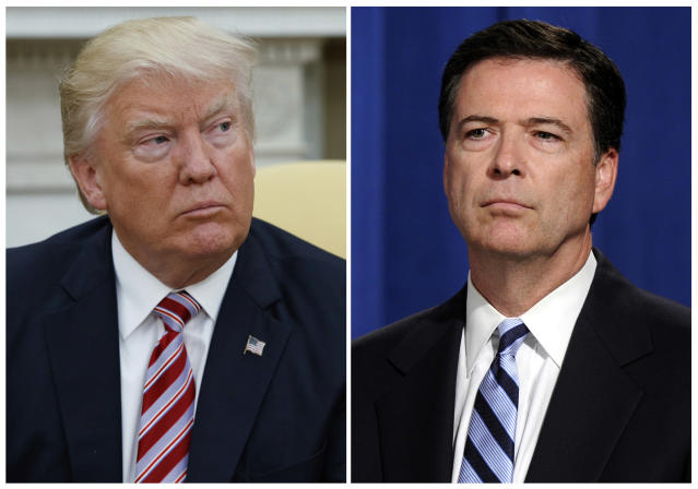 <p>In this combination photo, President Donald Trump, left, appears in the Oval Office of the White House in Washington on May 10, 2017, and FBI Director James Comey appears at a news conference in Washington on June 30, 2014. With each tweet about the Clinton probe, Trump seems to be further undermining his administration's stated rationale for the termination of Comey. (AP Photo/Evan Vucci, left, and Susan Walsh, File) </p>
