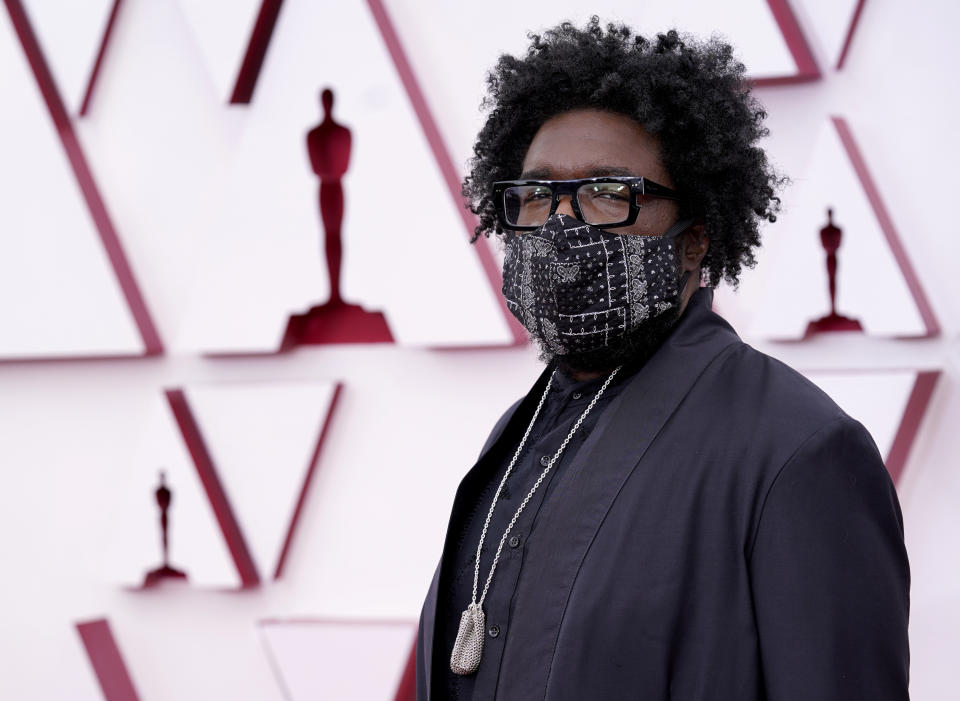 Questlove arrives at the Oscars on Sunday, April 25, 2021, at Union Station in Los Angeles. (AP Photo/Chris Pizzello, Pool)