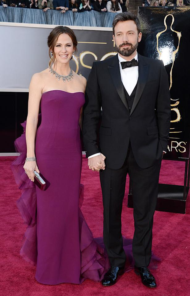 Jennifer Garner and Ben Affleck arrive at the Oscars in Hollywood, California, on February 24, 2013.