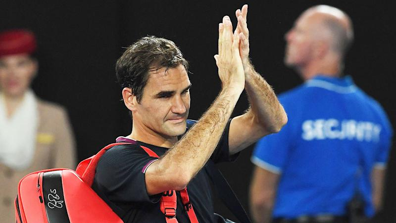 Seen here, Roger Federer salutes the crowd after exiting the 2020 Australian Open.