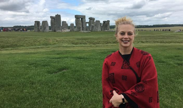 "Since the start of the COVID-19 pandemic, professor Dorsey Armstrong (at Stonehenge in England) has gained acclaim for her expertise as the lecturer on a video series called ""The Black Death: The World's Most Devastating Plague."" <span class=""copyright"">(Ryan Schneider/Special to The Times)</span>"