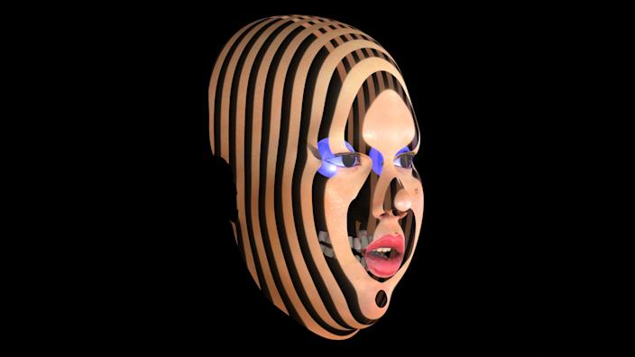 """""""Digital self-portrait,"""" 3D rendering, 2019, by Gabriela Ruiz. From the artist's solo exhibition, """"Gabriela Ruiz: Full of Tears,"""" at the Vincent Price Art Museum at East L.A. College. <span class=""""copyright"""">(Gabriela Ruiz)</span>"""