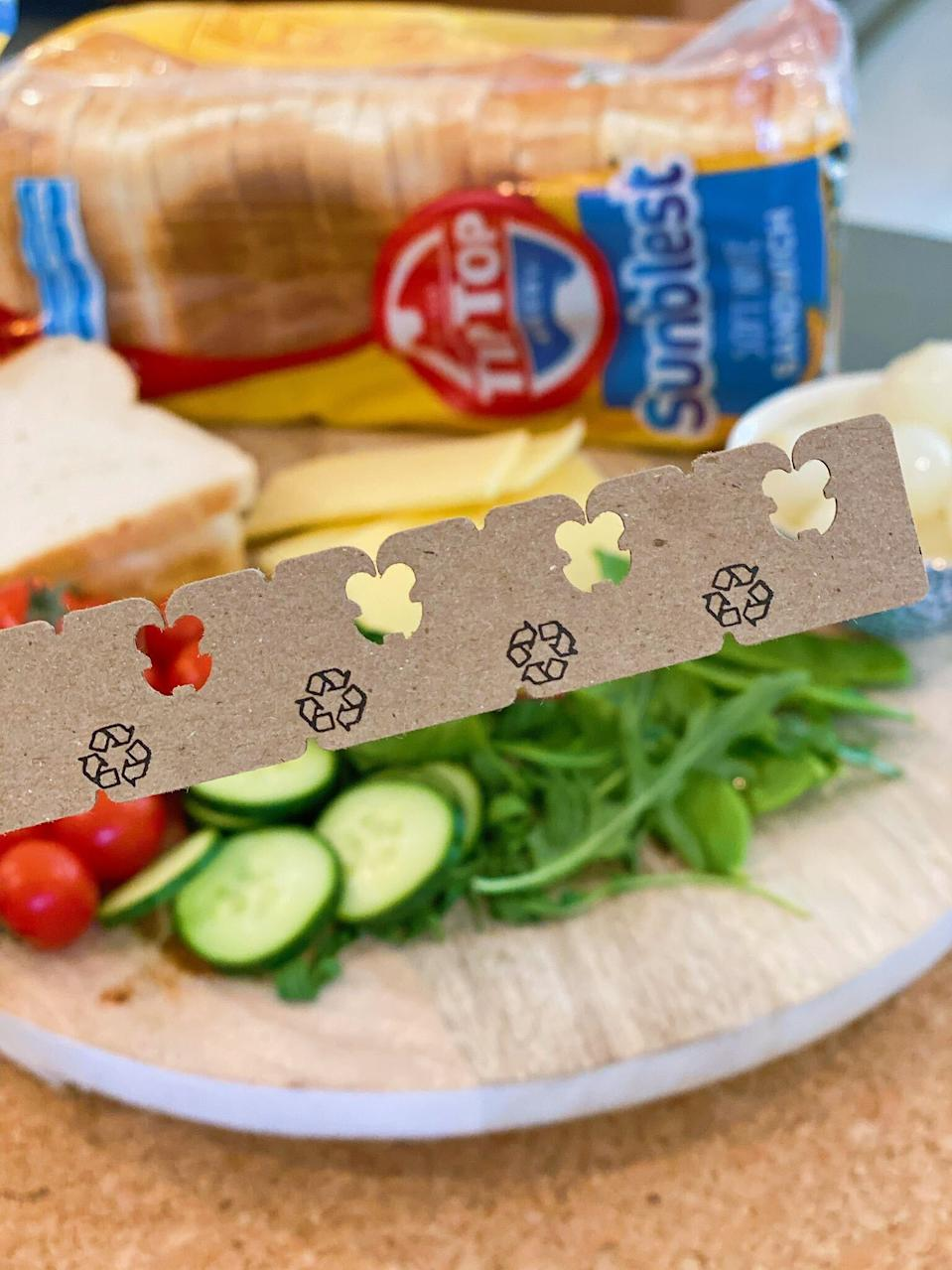 Image of Tip Top aussie bread brand new cardboard recyclable bread tags replacing plastic