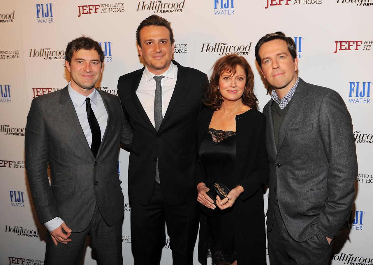 "NEW YORK, NY - MARCH 12:  (L-R) Director Mark Duplass and actors Jason Segel, Susan Sarandon, and Ed Helms attend the ""Jeff, Who Lives at Home"" screening hosted by The Hollywood Reporter and FIJI Water at the Sunshine Landmark on March 12, 2012 in New York City.  (Photo by Larry Busacca/Getty Images)"
