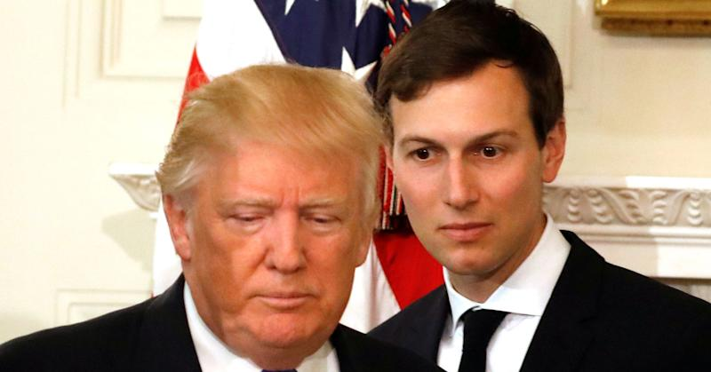 President Donald Trump and his senior advisor Jared Kushner arrive for a meeting with manufacturing CEOs at the White House in Washington, DC, U.S. February 23, 2017.