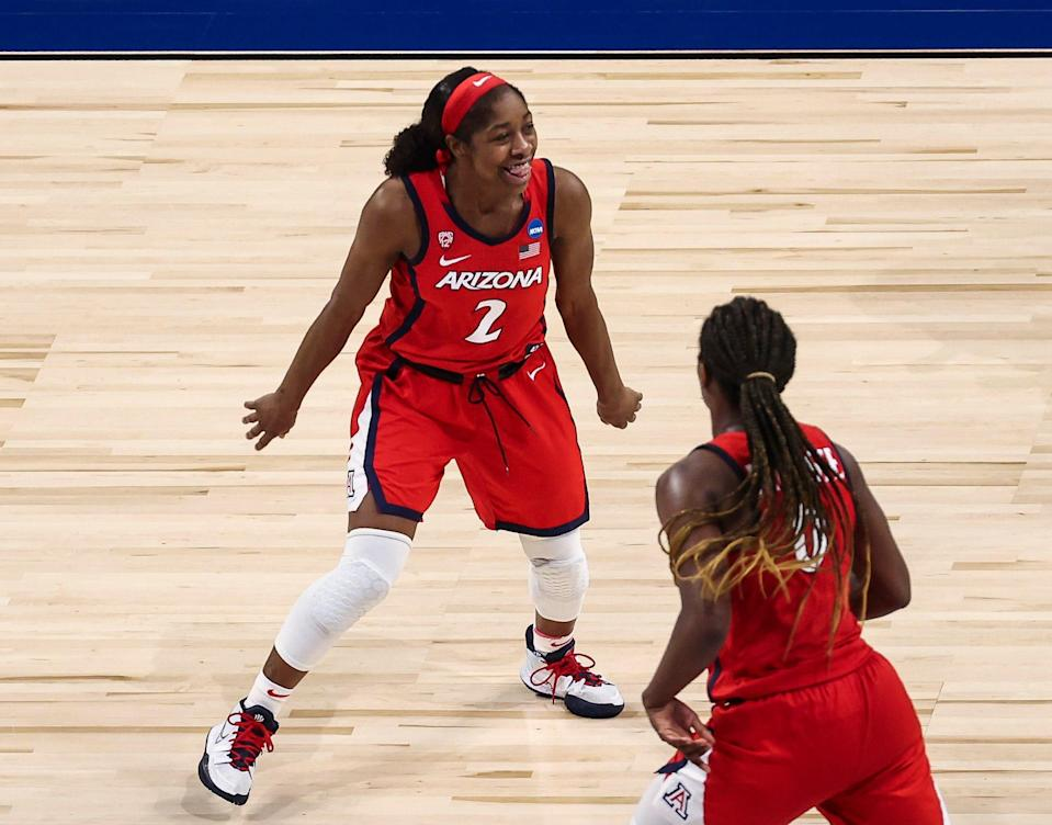 Arizona guard Aari McDonald (2) reacts after scoring two of her 31 points against Texas A&M in the Sweet 16.