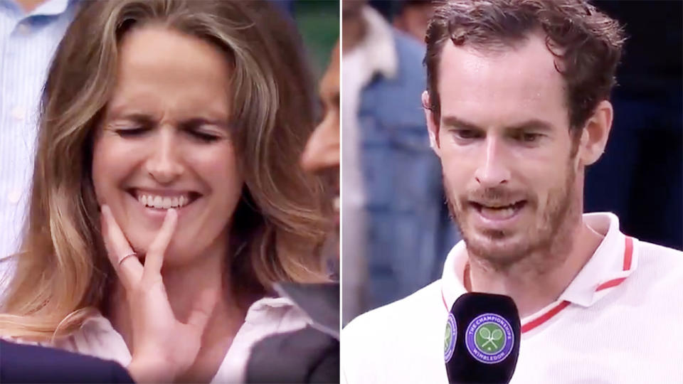 Kim Sears, pictured here mortified by Andy Murray's confession at Wimbledon.