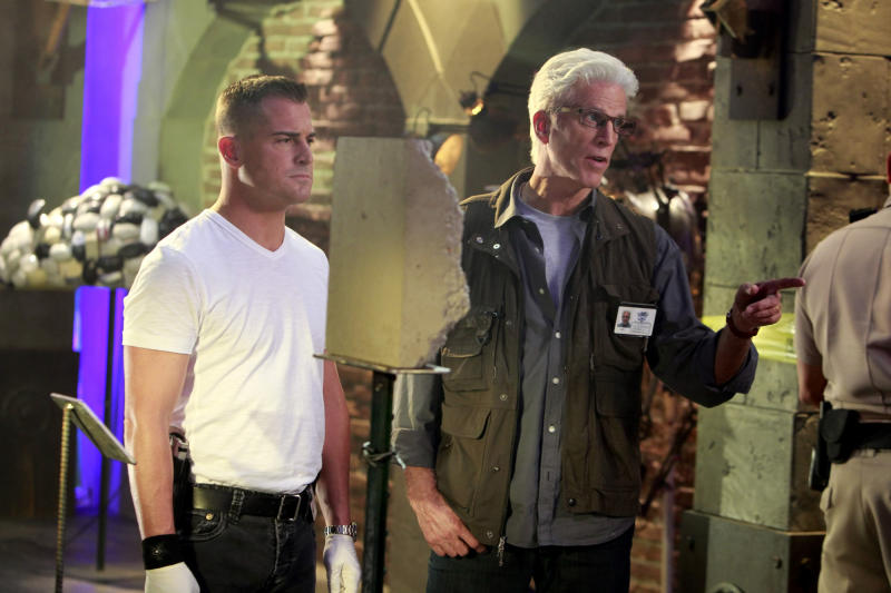 """In this 2011 image released by CBS, George Eads, left, and Ted Danson are shown in a scene from """"CSI: Crime Scene Investigation."""" Two decades after ending his spectacular """"Cheers"""" run,  Danson is appearing on two other series, simultaneously. He's back for the third season of the HBO comedy """"Bored to Death,"""" where he plays urbane pot-head George Christopher and he's on CBS' longrunning """"CSI: Crime Scene Investigation,"""" which he joined this fall in the role of new CSI Supervisor D.B. Russell  (AP Photo/CBS, Monty Brinton) MANDATORY CREDIT; NO ARCHIVE; NO SALES; NORTH AMERICAN USE ONLY"""