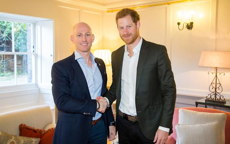 Prince Harry at Kensington Palace meets his friend Former Special Forces soldier, Dean Stott