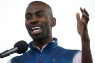 "FILE PHOTO: Civil rights activist DeRay Mckesson speaks at the ""End Racism Rally"" on the National Mall on the 50th anniversary of the assassination of civil rights leader Rev. Martin Luther King Jr. in Washington"