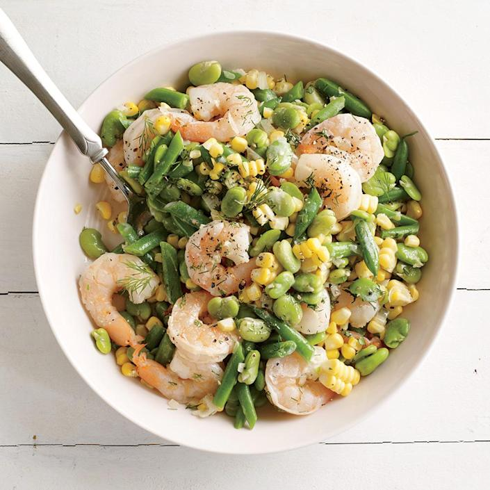 """<p>This succotash is richly satisfying yet healthy and not heavy. Fresh beans bring verdant brightness, while briny shrimp marry perfectly with sweet corn.</p> <p> <a rel=""""nofollow noopener"""" href=""""http://www.myrecipes.com/recipe/summer-corn-shrimp-succotash"""" target=""""_blank"""" data-ylk=""""slk:View Recipe: Summer Corn and Shrimp Succotash"""" class=""""link rapid-noclick-resp"""">View Recipe: Summer Corn and Shrimp Succotash</a></p>"""
