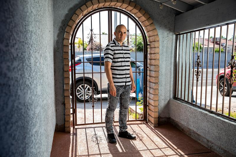 Nery Martinez, a bartender at Caesars Palace, at his home in Las Vegas last week. The company that owns it is setto open some casinos on Thursday, but Martinez is not among those slated to head back to work. (Photo: Joe Buglewicz for HuffPost)