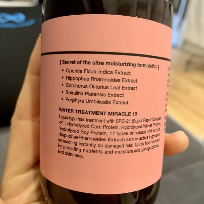 the list of ingredients in MOREMO's Water Treatment Miracle 10 (Katie Jackson / TODAY)
