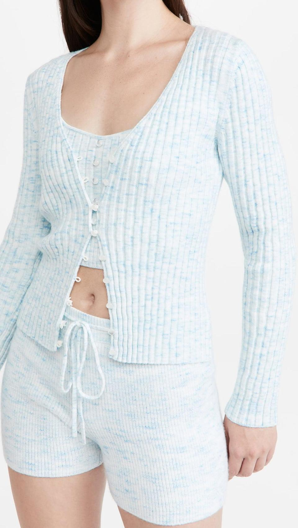 <p>When you want something that's both comfortable and body-hugging, turn to this <span>Wayf Frenchie Ribbed Cardigan</span> ($50, originally $99) and <span>Cami Top</span> ($33, originally $65). The light-blue ribbing looks charming and cute.</p>