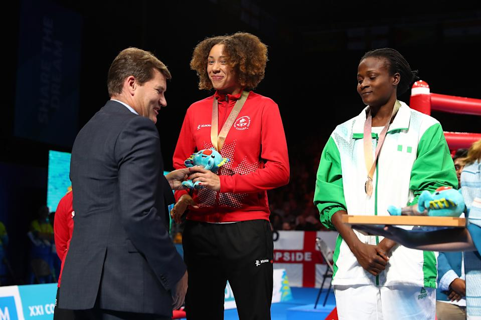 GOLD COAST, AUSTRALIA - APRIL 14:  Medal ceremony for Silver medalist Caitlin Parker of Australia, Gold medalist Lauren Price of Wales, Bronze medalists Tammara Thibeault of Canada and Millicent Agboegbulem of Nigeria during the medal ceremony for the women's 75kg Boxing on day 10 of the Gold Coast 2018 Commonwealth Games at Oxenford Studios on April 14, 2018 on the Gold Coast, Australia.  (Photo by Chris Hyde/Getty Images)