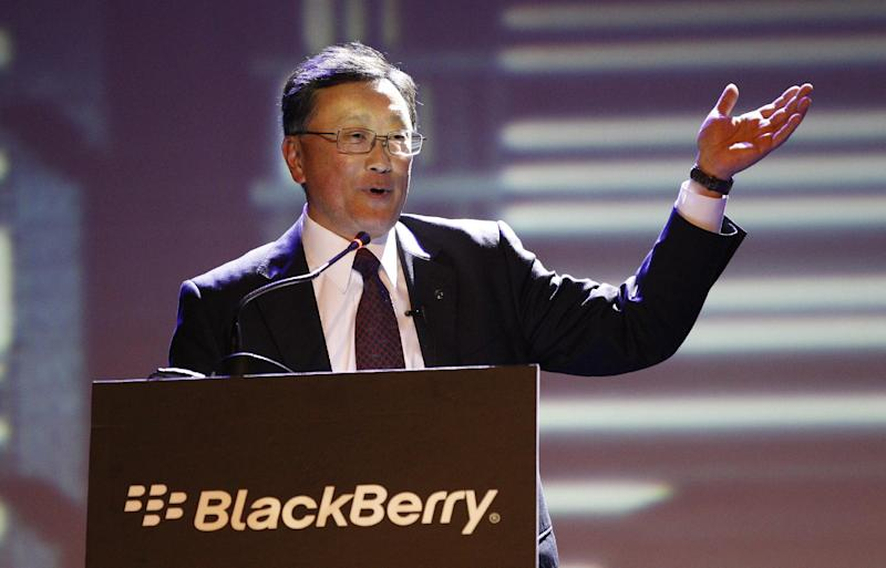 BlackBerry's CEO John Chen delivery his speech at the launch of the new Blackberry Z3 smartphone in Jakarta, Indonesia, Tuesday, May 13, 2014. The Z3 is priced at $200. (AP Photo/Achmad Ibrahim)