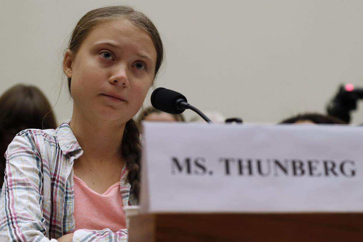 Youth climate change activist Greta Thunberg, left, speaks at a House Foreign Affairs Committee subcommittee hearing on climate change Wednesday