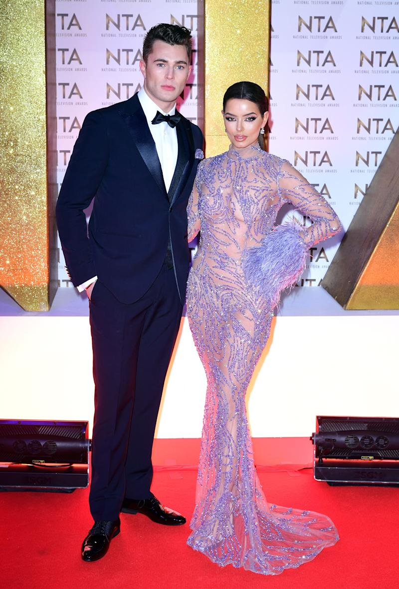 Curtis Pritchard and Maura Higgins during the National Television Awards at London's O2 Arena. (Photo by Ian West/PA Images via Getty Images)