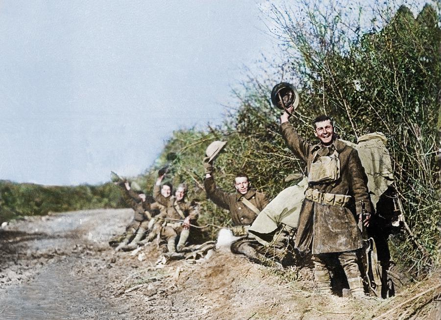 <p>Soldiers celebrate the end of the war on November 11th, 1918<br /> (Royston Leonard / Media Drum World / Caters News) </p>