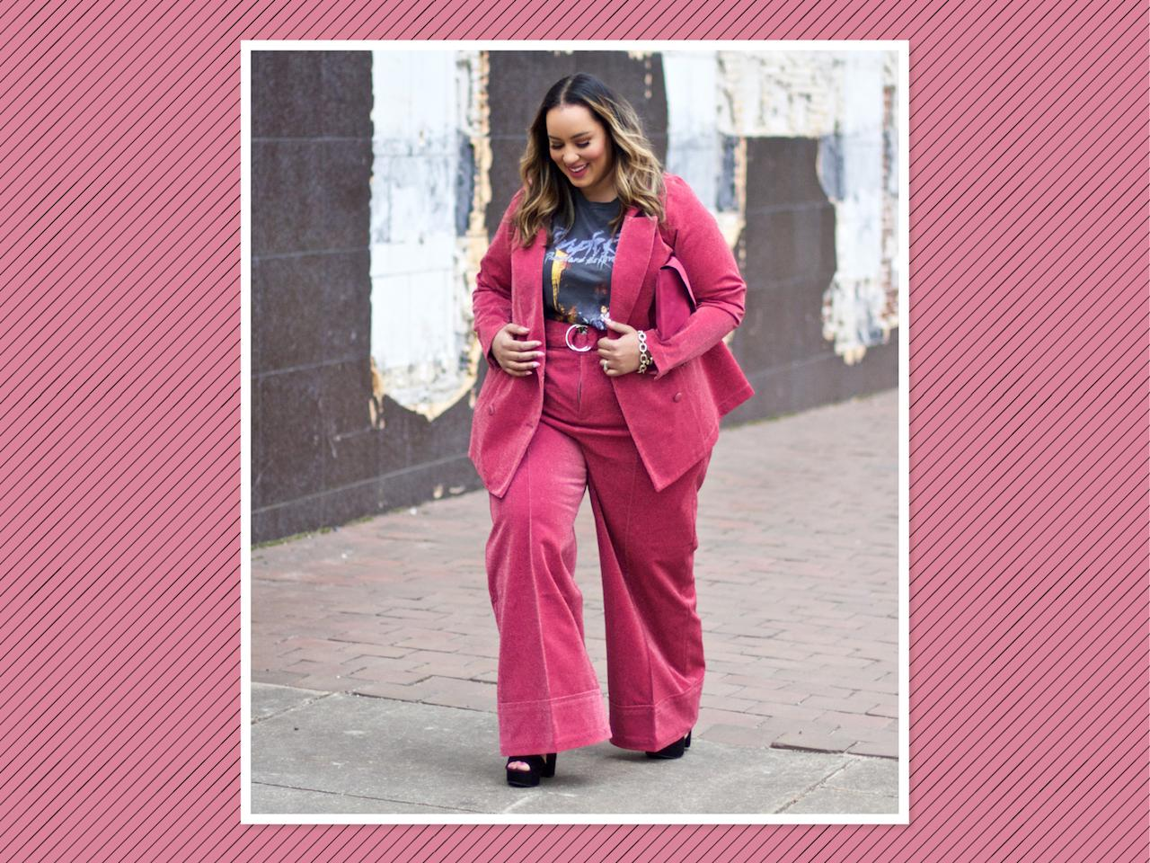 "<p>A band tee never looked so chic than when paired with this must-have pink co-ord set from Premme Us, Jay Glitter <a rel=""nofollow"" href=""https://premme.us/collections/all/products/jay-glitter-blazer"">jacket</a> $135, pants $129. (Photo: <a rel=""nofollow"" href=""https://www.instagram.com/p/BfEl7ESFLga/?hl=en&taken-by=iambeauticurve"">Rochelle Johnson</a> via Instagram) </p>"