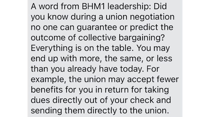 A text message to a worker from Amazon management