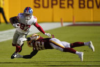 New York Giants wide receiver Sterling Shepard (87) tries to runs past Washington Football Team safety Deshazor Everett (22) in the first half of an NFL football game, Sunday, Nov. 8, 2020, in Landover, Md. (AP Photo/Al Drago)