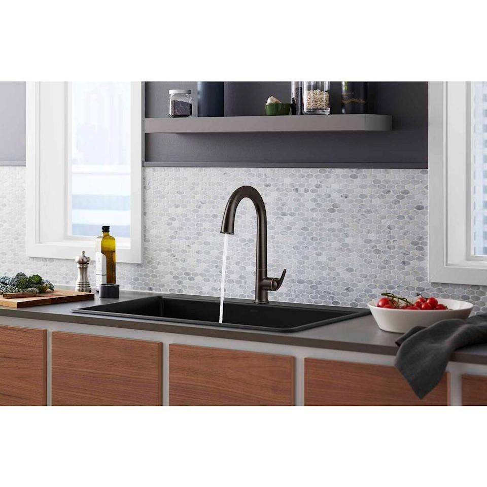 """<p><strong>KOHLER</strong></p><p>homedepot.com</p><p><strong>$1019.14</strong></p><p><a href=""""https://go.redirectingat.com?id=74968X1596630&url=https%3A%2F%2Fwww.homedepot.com%2Fp%2FKOHLER-Sensate-Single-Handle-Pull-Down-Sprayer-Kitchen-Faucet-with-KOHLER-Konnect-in-Oil-Rubbed-Bronze-K-72218-WB-2BZ%2F307747990&sref=https%3A%2F%2Fwww.housebeautiful.com%2Fshopping%2Fhome-gadgets%2Fg32601791%2Fbest-touchless-kitchen-faucets%2F"""" rel=""""nofollow noopener"""" target=""""_blank"""" data-ylk=""""slk:BUY NOW"""" class=""""link rapid-noclick-resp"""">BUY NOW</a></p><p>Another voice controlled option, the Sensate faucet pairs with Kohler Konnect to allow it to connect to your Amazon Alexa or Google Assistant as well (not to mention, it also reports back leaks and usage in the app). It comes in four finishes, and has a motion sensor for when you don't want to use voice control to turn it on and off. <a href=""""https://www.housebeautiful.com/shopping/home-gadgets/a32186146/kohler-sensate-smart-faucet-review/"""" rel=""""nofollow noopener"""" target=""""_blank"""" data-ylk=""""slk:Read our editor's review here."""" class=""""link rapid-noclick-resp"""">Read our editor's review here. </a></p>"""