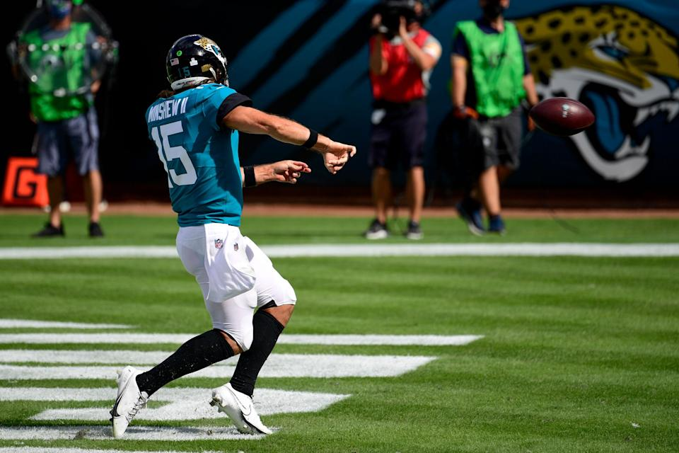 Jacksonville Jaguars quarterback Gardner Minshew II (15) reacts after running the ball in for a touchdown against the Detroit Lions during the second half at TIAA Bank Field.