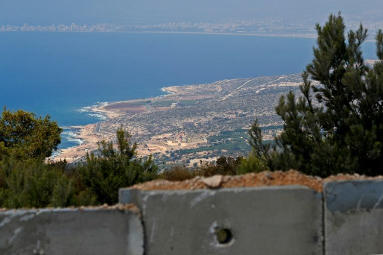 A section of the new wall Israel is building along the Lebanese border lies high in the hills overlooking the Mediterranean coast