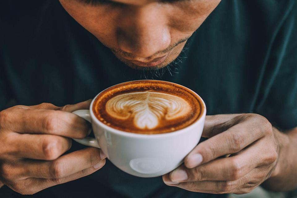 """<p>While your favorite cuppa doesn't <em>promote</em> weight loss, according to the <a href=""""https://www.mayoclinic.org/healthy-lifestyle/weight-loss/expert-answers/caffeine/faq-20058459#:~:text=Caffeine%20alone%20won't%20help,leads%20to%20noticeable%20weight%20loss."""" rel=""""nofollow noopener"""" target=""""_blank"""" data-ylk=""""slk:Mayo Clinic"""" class=""""link rapid-noclick-resp"""">Mayo Clinic</a>, you can add coffee to your list of drinks to have while you're trying to lose weight. </p><p>Coffee is virtually calorie-free (about 5 calories per 8 ounces) when you drink it black. And a splash of milk—dairy or plant-based—won't send your caloric intake into freefall, either. Just hold off on adding sugar, which can quickly add calories to your drink. </p>"""