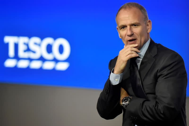 FILE PHOTO: Tesco Group Chief Executive, Dave Lewis speaks at an analyst presentation in London