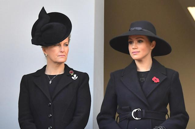 Meghan joined Sophie, Countess of Wessex, on another balcony [Image: Getty]