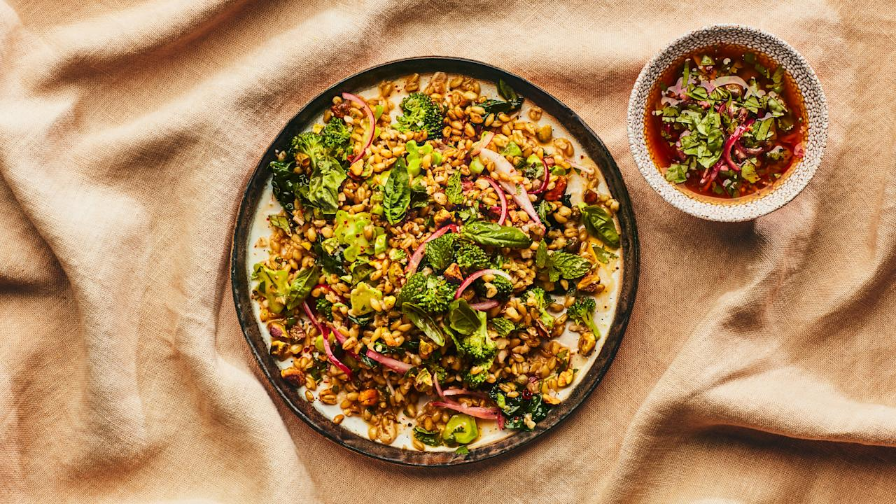 "Freekeh is green wheat with a slightly smoky flavor we love, but any whole grain you have on hand will work. This recipe from <a href=""http://dimesnyc.com/"">Dimes</a> is part of <a href=""https://www.bonappetit.com/story/healthyish-superpowered?mbid=synd_yahoo_rss"">Healthyish Superpowered</a>, a dinner series honoring female activists and chefs across the country, in partnership with <a href=""https://www.trycaviar.com/?SSAID=314743&cvosrc=affiliate.shareasale.314743&sas_click_id=a1k2_69q04&sscid=a1k2_69q04&utm_campaign=default&utm_medium=affiliate&utm_source=shareasale_publisher-id_314743"">Caviar</a>. <a href=""https://www.bonappetit.com/recipe/grain-salad-with-pickled-onions-and-herbs?mbid=synd_yahoo_rss"">See recipe.</a>"
