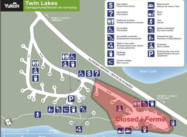 Not all campsites at open parks will be useable this first weekend of the season — some are still snowed in or wet. Several sites at the Twin Lakes campground are closed 'due to extremely soft ground,' according to a Facebook post from Yukon Parks.
