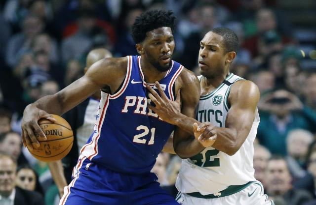 "All-Star centers <a class=""link rapid-noclick-resp"" href=""/nba/players/5294/"" data-ylk=""slk:Joel Embiid"">Joel Embiid</a> and <a class=""link rapid-noclick-resp"" href=""/nba/players/4245/"" data-ylk=""slk:Al Horford"">Al Horford</a> will see plenty of one another over the next couple of weeks, with an Eastern Conference finals berth on the line. (AP)"