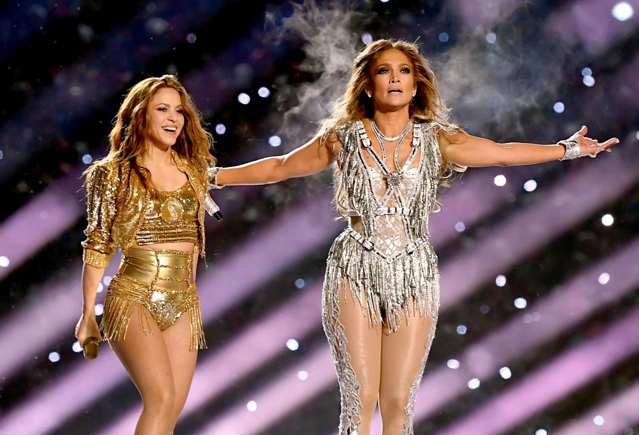 (L-R) Shakira and Jennifer Lopez perform onstage during the Pepsi Super Bowl LIV Halftime Show at Hard Rock Stadium on February 02, 2020 in Miami, Florida. (Photo by Kevin Winter/Getty Images)