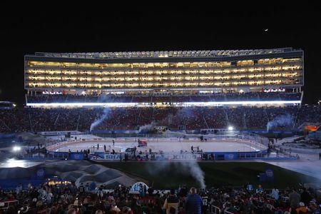 FILE PHOTO: Feb 21, 2015; Santa Clara, CA, USA; A general view during the first intermission during the Stadium Series hockey game between the San Jose Sharks and the Los Angeles Kings at Levis Stadium. Mandatory Credit: Kelley L Cox-USA TODAY Sports