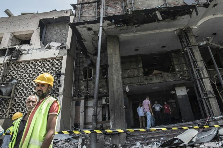 The National Cancer Institute in the Egyptian capital Cairo was damaged in the car blast (AFP Photo/Khaled DESOUKI)