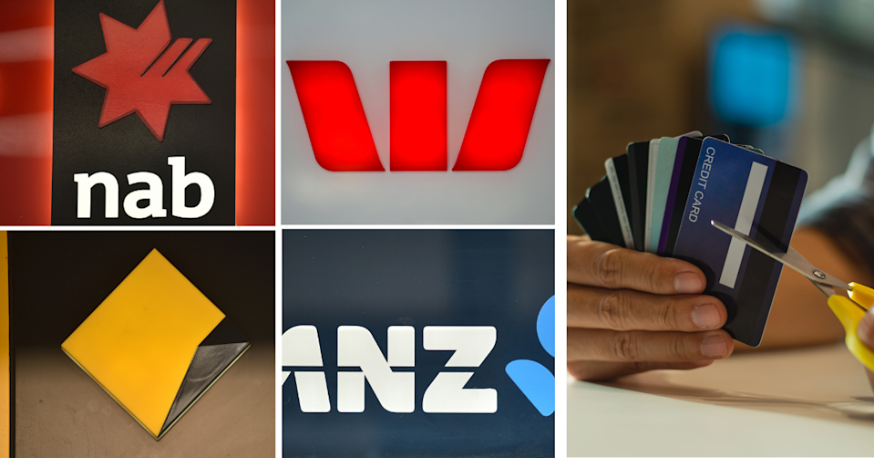 Logos of the big four banks and a man cutting credit cards in half.