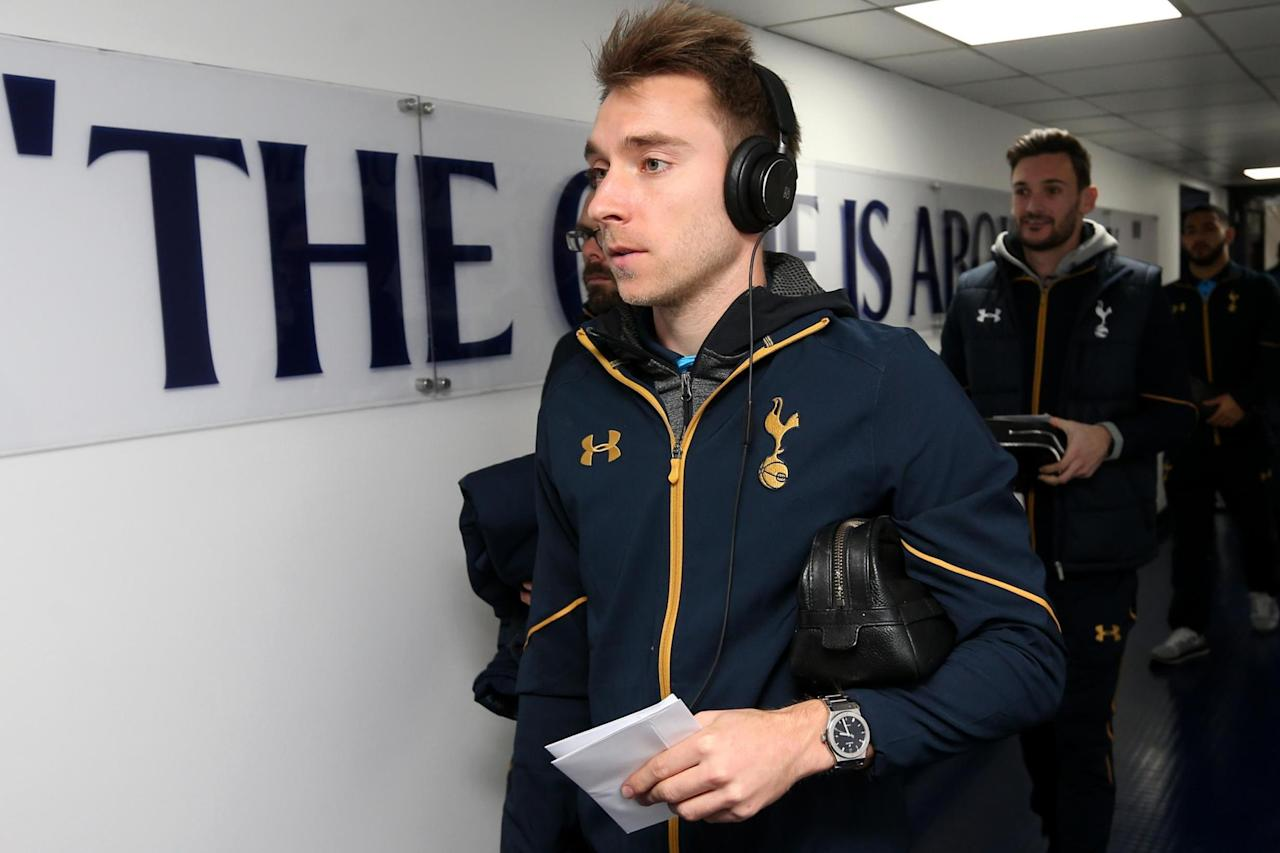 Tottenham's Christian Eriksen drops by Exeter dressing room after watching League Two club win at Crawley
